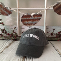 STAY WOKE Washed Baseball Hat Low Profile Embroidered Baseball Caps Dad Hats Charcoal Black w White Thread