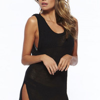 Black Sleeveless Keyhole Cut-out  Knitted Beach Cover Up
