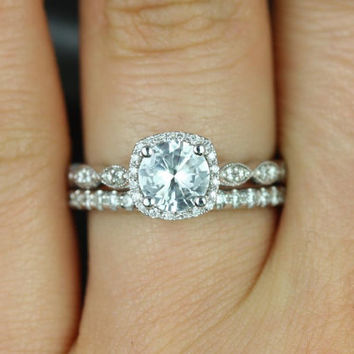 Christie & Callie 14kt White Sapphire and Diamonds Cushion Halo WITH Milgrain Classic Wedding Set (Other metals and stone options available)
