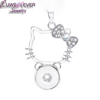 Hello Kitty Cat Interchangeable Rhinestone Pendant for Ginger Snaps Jewelry 18mm