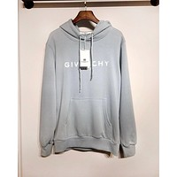 Givenchy 2019 new cotton LOGO letter printed hooded sweater light blue