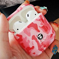 AAPE BAPE Hot Sale Camouflage iPhone Airpods Headphone Case Wireless Bluetooth Headphone Protector Case(No Headphones) Pink