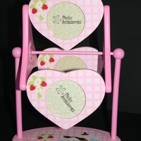 Pink Wooden Rolling with 3 Photo Frames for Girls!