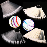 False Display Nail Art Fan Wheel Polish Practice Tip Sticks Nail Art 50pcs 100% Top Good