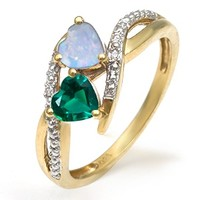 Kay - Lab-Created Emerald Couple's Heart Ring Yellow Gold