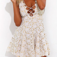White Lace Overlay Lace-Up Sundress