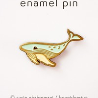 Whale Pin - Humpback Whale Enamel Pin Brooch by boygirlparty