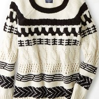 AEO Women's Mixed Knit Crew Sweater (Black)