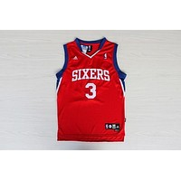 Philadelphia 76ers #3 Allen Iverson NBA Basketball Jersey Retro Red Sixers Jersey