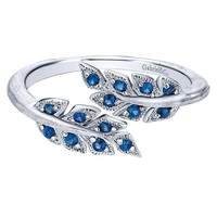 Sterling Silver Blue Sapphire Fashion Ring with Leaf Design