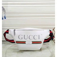 GUCCI Trending Women Men Leather Print Satchel Waist Bag Single Shoulder Bag White I