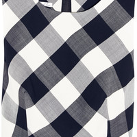 Oscar de la Renta - Gingham stretch wool-blend top