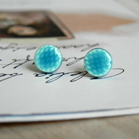 Turquoise Ceramic Texured Stud Earrings Teal Posts Blue Hypoallergenic Geometric Minimalist Modern Earrings
