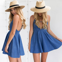 Summer Hot Sale Backless Deep V Sexy Spaghetti Strap Denim Dress One Piece Dress [11054788751]