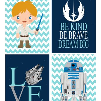 Star Wars Nursery Decor Set of 4 Prints, Be Kind, Be Brave, Dream Big, Love, R2D2 and Luke Skywalker