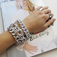 Thick and Chunky Silver Stacking Chain Bracelets