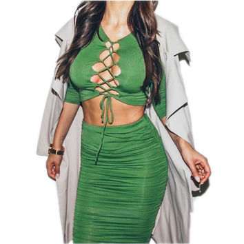 American Apparel Crop Top And Skirt Set 2 Color Long Sleeve Chest Strap Sexy 2 Piece Set Women  D8072