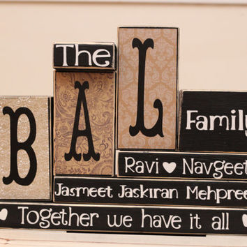 Family Name (3 Letters)  Personalized on Wood Blocks