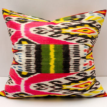 22x20 ikat pillow cover,pink yellow green black pillow cover cushion case