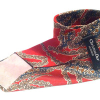 Christian Dior tie / vintage neck tie scarlet red paisley silk / wedding formal Mad Men / Fathers Day