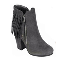Fall Fashion Must Have! Fringe Gray Bootie Boots with Heel