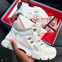 Gucci Lace up white lady sports shoes