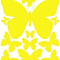 Yellow Butterfly Dry Erase Wall Stickers (13) Peel & Stick Removable Beautiful Butterfly Wall Decals