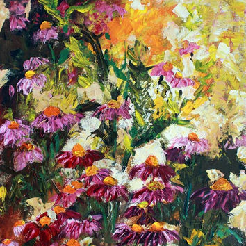 Purple Coneflowers Palette Knife Oil Painting 18 by 24 inch by Ginette