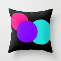 Modern Circles Pink Turquoise Black Throw Pillow by Whimsy Romance & Fun