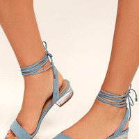 Steve Madden Carolynn Blue Suede Leather Lace-Up Lucite Sandals