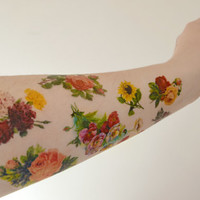 Temporary tattoo Vintage Floral  set - Flowers, Colourful, Tattoo, Rose, Stocking stuffer