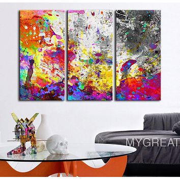 Canvas Print Abstract Watercolor Splash Paint Splash Wall Art Retro Abstract Canvas Print