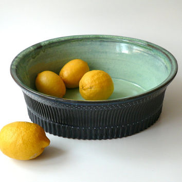 Large Ceramic Oval Serving Bowl, Fruit Bowl, Salad Bowl in Mint Green and Midnight Blue, Hand Carved by Cecilia Lind, CrowWhitePottery