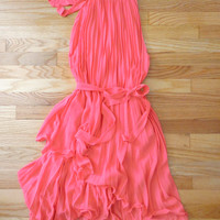 Charming Pleated Party Dress in Coral