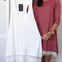 Lace Trim Layering Tunic {Off White}