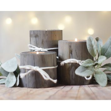 Log Candle Holder Set Gray with White Twine