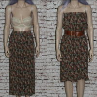 90s Crinkle Skirt Midi Sheer Floral Black Gypsy Festival Grunge Boho Hipster Witchy High waist Gauzy Dress Pastel India Hippie XS S 70s