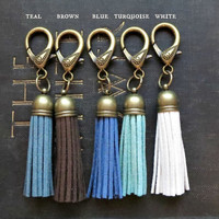 Faux Leather Suede Tassel Keychain or Purse Clip in Bronze - Choice of Colors