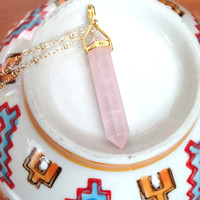 Pink Rose Quartz Point Necklace, On gold filled satellite chain