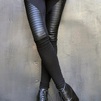 NEW COLLECTION Black Extra Long Leggings / Genuine Leather Front  / Viscose Back by Aakasha A05125