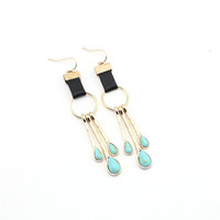 Geometric Gold Plated Drop Earrings with Stone by Fashnin.com