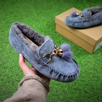 Ozlana Ugg The Fluffy Loafer Blue Slippers - Sale
