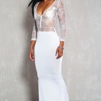 Sexy White Plunging Sheer Lace Long Sleeve Party Dress