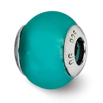 Teal Matte Italian Murano Bead & Sterling Silver Charm, 14mm