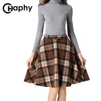 Khaki/Green/Red Plaid Skirts Women 2016 Autumn Winter Plus Size Plaid Skirt With Belt Woolen Casual A-line Pleated Plaid Skirts