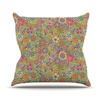 """Kess InHouse Julia Grifol """"My Butterflies and Flowers in Green"""" Rainbow Floral Outdoor Throw Pillow, 26 by 26-Inch"""