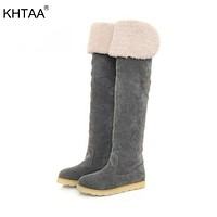 KHTAA 2017 Woman Winter Flat Warm Plush Platform Over The Knee Botas Ladies Fur Suede Style Thigh High Snow Boots Shoes
