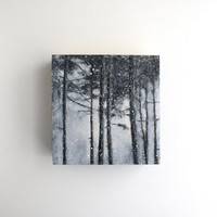 Winter Forest - Black and White Oil Landscape Painting - 4 x 4
