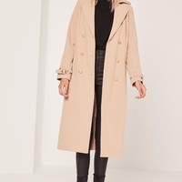 Missguided - military faux wool trench coat nude