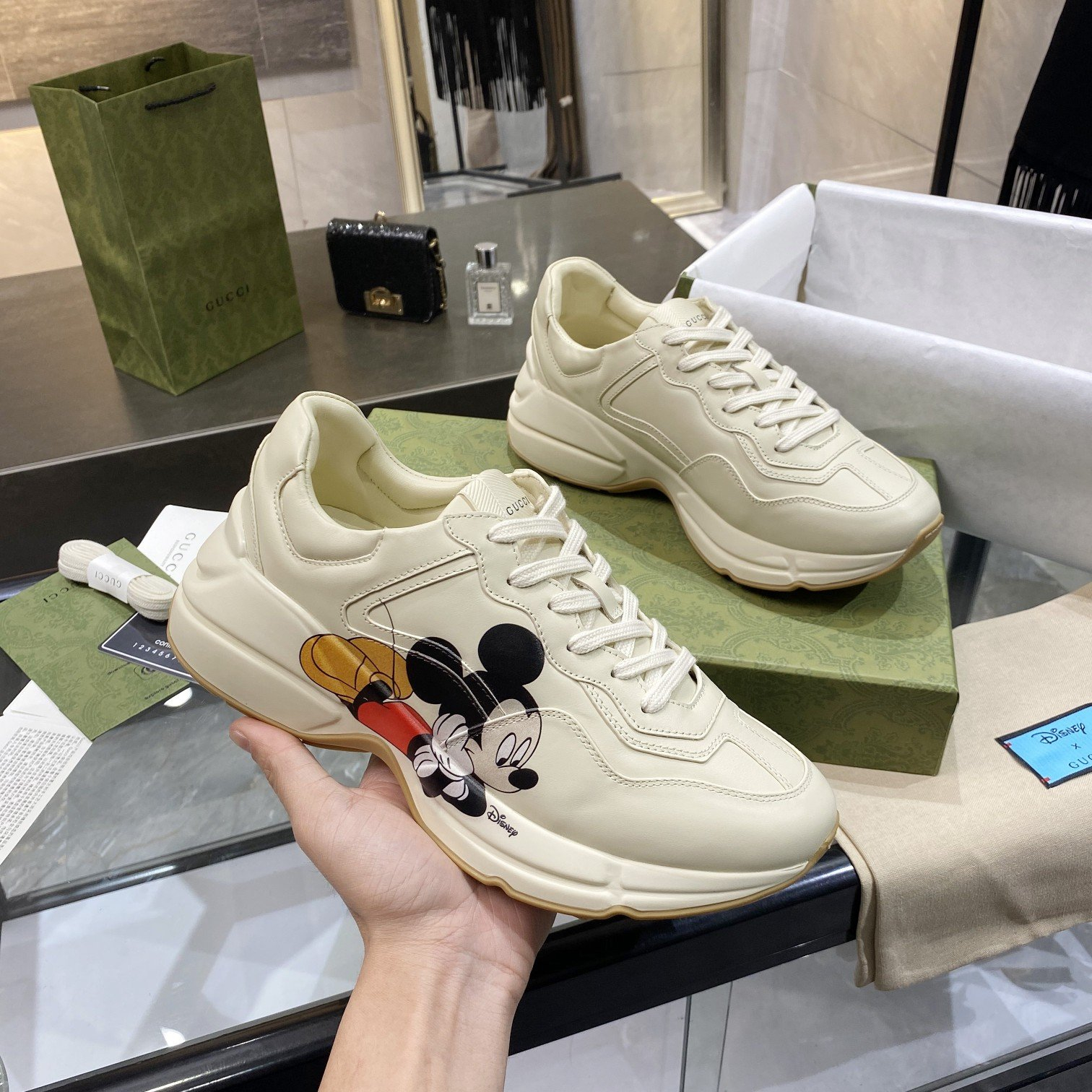 Image of GG Rhyton Logo Leather Sneaker Shoes